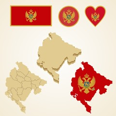Montenegro Map, Vector 3D pack of Montenegro and flag