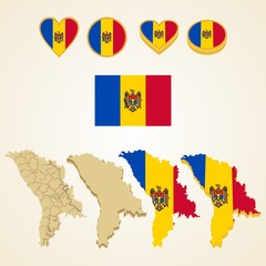 Moldova Map, Vector 3D pack of Moldova and flag