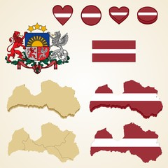 Latvia Map, Vector 3D pack of Latvia and flag