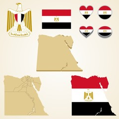 Egypt Map, Vector 3D pack of Egypt and flag