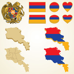 Armenia Map, Vector 3D pack of Armenia and flag