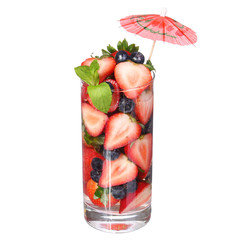 Fruit cocktail isolated on white. Strawberries and blueberries