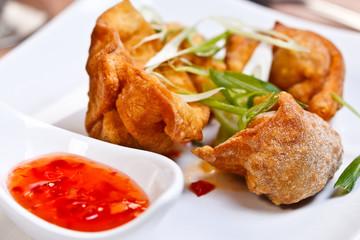 Indian appetizer - Crispy chicken wontons