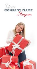 Happy cute blonde opening presents