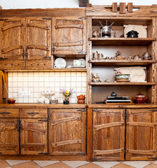 Wooden furniture for kitchen in country style