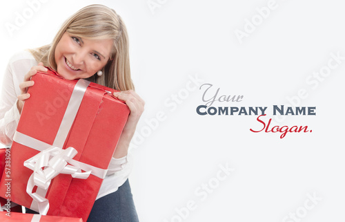 Happy cute blonde receiving presents close-up