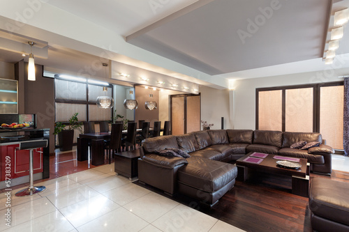 Spacious living room in a luxury house
