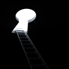 Ladder through keyhole to the bright light business concept