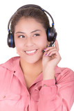 Female hispanic customer representative with headset