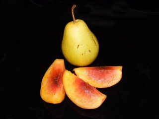 Pear and pieces of peach