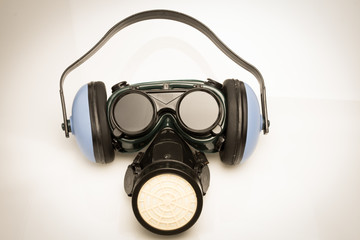 Vintage Safety Gear Mask,ear defenders and goggles