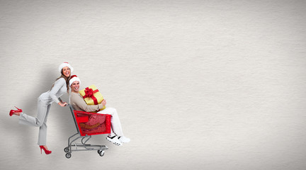 Running people with shopping cart