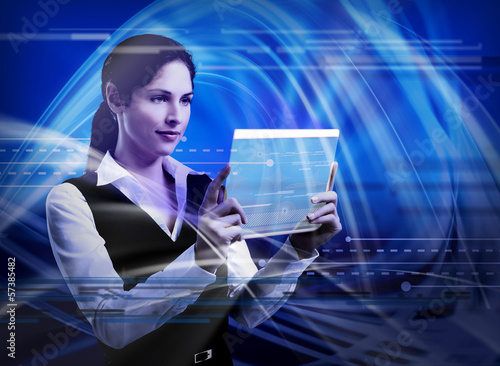 Young woman with tablet computer.
