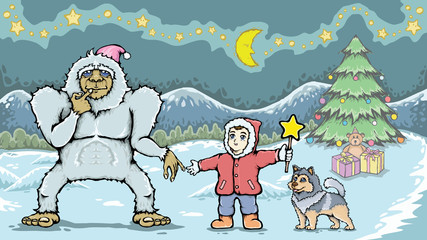 Boy and yeti monster in christmas day