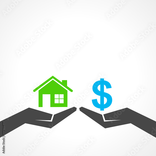 Illustration of compare home and money concept