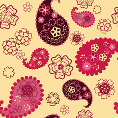 cheerful floral pattern on yellow background