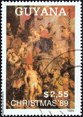 Madonna Enthroned, surrounded by Saints by Rubens (Guyana 1989)