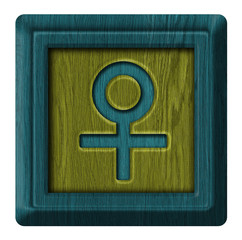 Female sign sex, wooden label