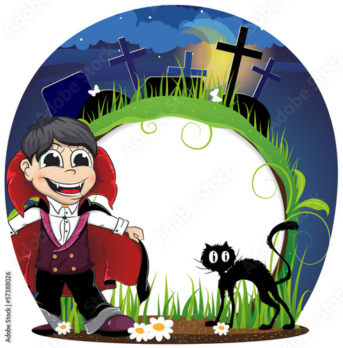 Vampire and  black cat on a cemetery
