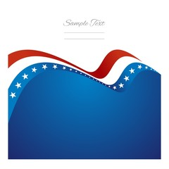 US abstract flag ribbon vector