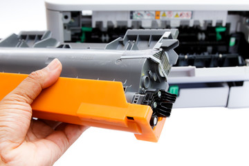 Change cartridge laser printer