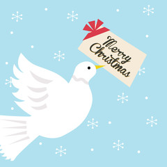 dove holding christmas greeting card