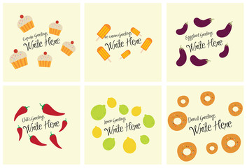 Various food greeting card with text
