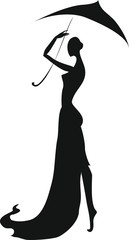 Silhouette of a girl with an umbrella