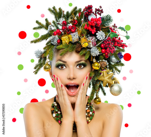 Christmas Woman. Christmas Tree Holiday Hairstyle and Make up - 57390850