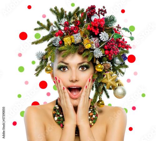 Fototapeta Christmas Woman. Christmas Tree Holiday Hairstyle and Make up