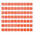 handschrift buchstaben kapitel orange-weiss I