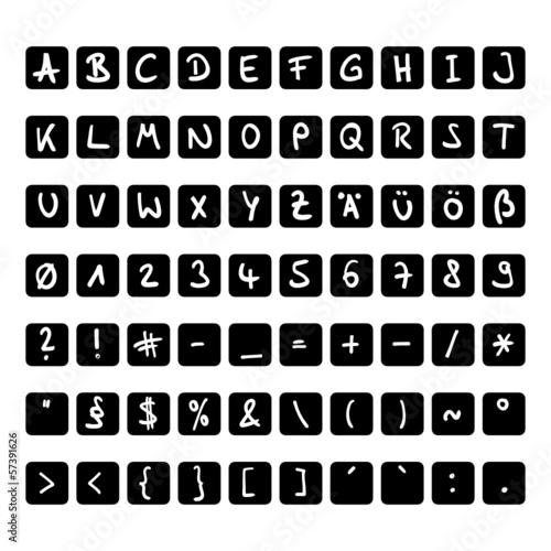 handschrift buchstaben kapitel schwarz-weiss I