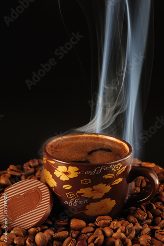 Turkish Caffee on Coffee on grain with smoke and chocolate