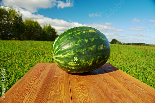 Watermelon on a wooden table
