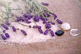 Spa treatment - concept (lavender, mineral salt and spa stones)