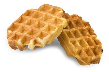 freshly baked waffles close up on the white