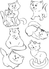 Hand draw cartoon cat.