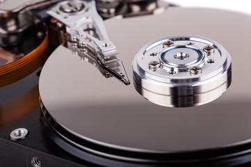 computer hard drive closeup
