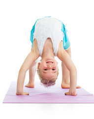kid girl on yoga
