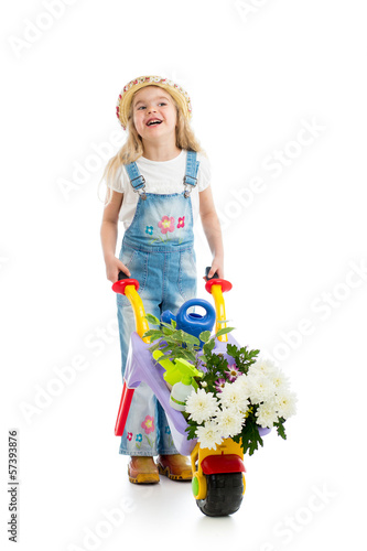kid girl with potted flowers and gardening equipment isolated