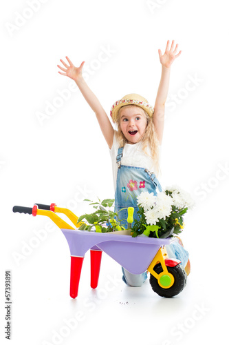 child girl with potted flowers and gardening equipment isolated