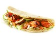 chicken tikka naan bread with salad
