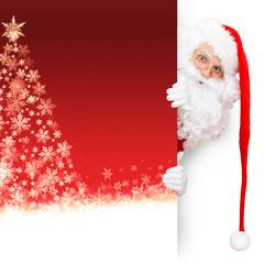 Santa Claus auf rotem Schneeflocken-Hintergrund