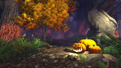 Halloween pumpkins under old tree