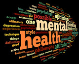 Mental health in word tag cloud poster