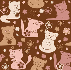 Seamless pattern with funny cats and dogs.
