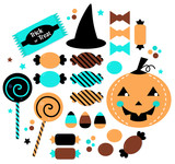 Halloween cute sweet Candy set isolated on white