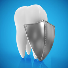 Tooth with metal shield on blue background