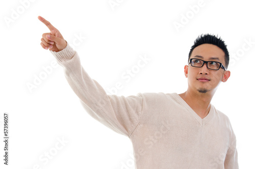 Asian man finger touching on transparent virtual screen