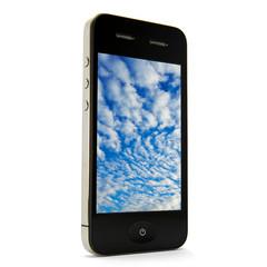Smartphone stehend mit Wolken